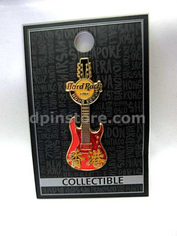Hard Rock Cafe Hong Kong Guitar Pin (Orange)
