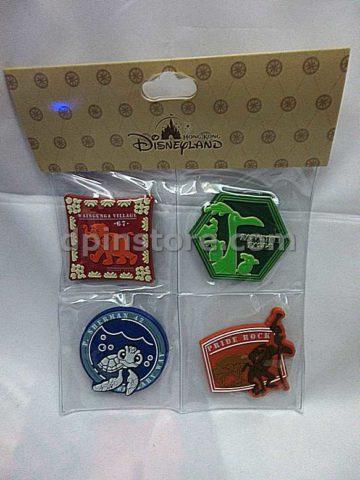 Hong Kong Disneyland Disney Explorers Lodge Official Magnets Set of 4